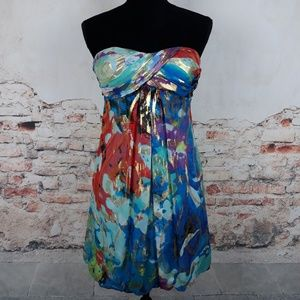 Cache 0 Teal Blue Gold Metallic Silk Blend Dress